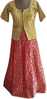 Sneh Women's Designer Banarasi Silk Lehenga Style Pink Skirt With Golden Blouse 2 Pcs Set