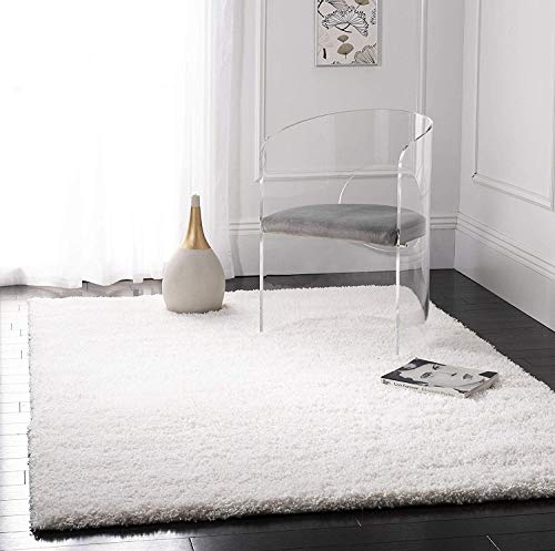 Safavieh California Premium Shag Collection SG151-1010 Area Rug, 5' 3' x 7' 6', White
