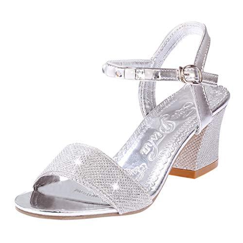 Sandalias de Tacon Alto de Elegantes para Mujer, Zapatos de Tacon Fiesta Sandalias de Vestir Boda Novia Baile Sandalias Sexy Plateado 39