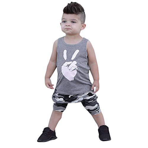 Briskorry Ropa de bebé, 2 piezas, chaleco estampado, camiseta sin mangas, camiseta + pantalones cortos de camuflaje, conjunto de ropa para niños pequeños, conjunto de ropa de verano, 12M-5Y