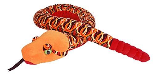 Lashuma Snakesss Kuscheltier Tribal, Orange Rot Plüschtier Schlange, XXL Stofftier Reptil, Plüschschlange Größe 137 cm