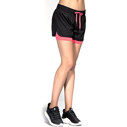 CtopoGo Pantaloncini Sportivi da Donna 2 in 1 per Correre Calzoncini Sportivi da Donna per Esercizio Yoga Pantaloncini Corti Respiranti per Sport all'Aria Aperta