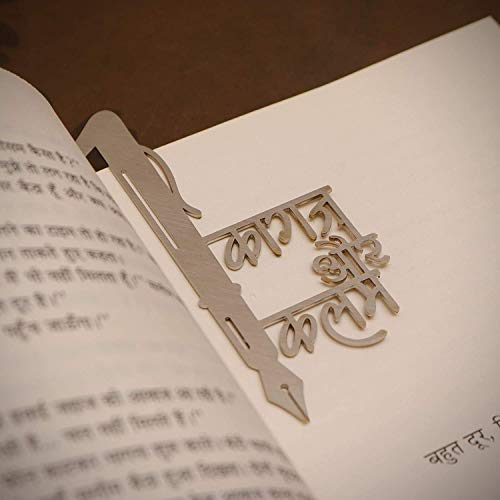 Zeeke Kraftnix Metalic, Stainless Steel Bookmarks Gift' kagaz AUR Kalam' for Book Readers, Book Lovers Bookmarks