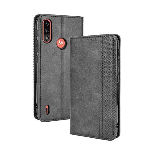 BAIDIYU Hülle für Motorola Moto E7i Power Handyhülle, Kartensteckplätze, Ständerfunktion, Luxus PU Leder Brieftasche Flip Folio Cover, Hülle für Motorola Moto E7i Power.(Schwarz)