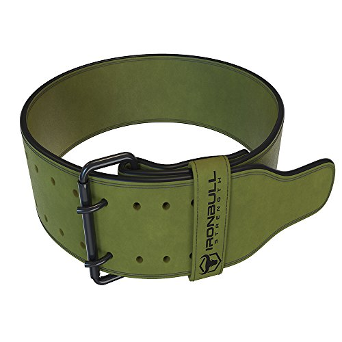 Iron Bull Strength Powerlifting Belt - 10mm Double Prong - 4-inch Wide - Heavy Duty for Extreme Weight Lifting Belt (Green, Medium)