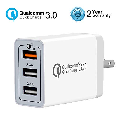 Quick Charge 3.0 Wall Charger, AOLERX 3-Port USB Foldable Plug, for iPad Tablet Phone Quick Charge Travel Adapter Android Fast Charger Compatible with Samsung, LG, HTC, iPhone & More