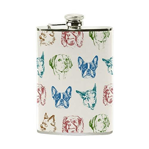 FGRYGF Puppy Dogs Stainless Steel Hip Flask,Pocket Flagon,Camping Wine Pot,Gift for Men or Women