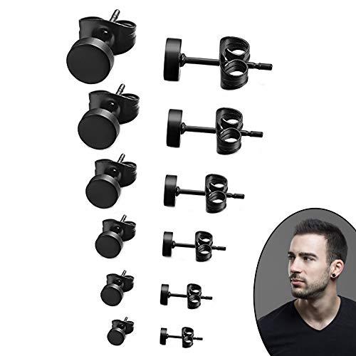 SwirlColor Ohrstecker Schwarz Set Schwarze Runde Ohrstecker Ordentlich Ohrringe Kit für Frauen Männer 3mm-8mm 6 Pairs