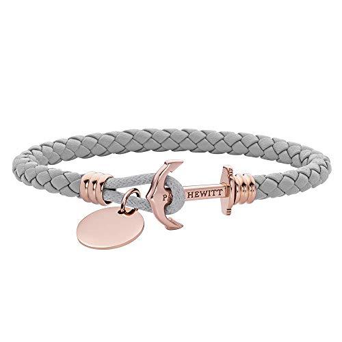 PAUL HEWITT Anker Armband auf einem Gravur PHREP Lite - Segeltau Armband Leder Damen (Grau) mit individueller Wunschgravur auf einem Anhänger, Schmuck aus IP-Edelstahl (Roségold)