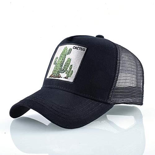Gorras de béisbol de Moda Hombres Mujeres Snapback Hip Hop Sombrero Verano Malla Transpirable Sun Gorras Unisex Streetwear-Black Cactus