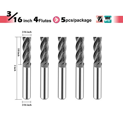 SPEED TIGER ISE Carbide Square End Mill - Micro Grain Carbide End Mill for Alloy Steels/Hardened Steels - 4 Flute - ISE3/16'4T - Made in Taiwan (5 Pieces, 3/16')