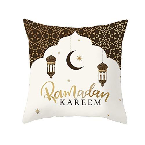 LIFEIstb Fundas para Cojines,Almohada Cojín Tapas De Almohadón Cuadrado Halal Musulmán Ramadan Eid Patrón Golden Line Patrón Decorativo para Sofás Camas Sillas Funda De Cojín De 18 X 18 Pulgadas