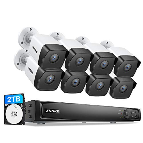 ANNKE 5MP PoE Security Camera System, 8CH 4K NVR, 130° Wider Viewing Angle, Starlight Color Night Vision,8pcs 5MP PoE IP Cameras, IP67 Weatherproof for Home Outdoor, 2T HDD Store More Video, C500 Cam