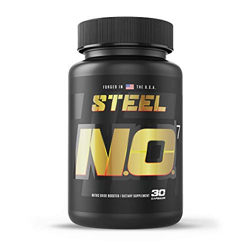 Steel Supplements N.O.7 Nitric Oxide Booster   Maximize Blood Flow   Increased Vascularity   Intense Pump & Muscle Fullness   No Loading Phase   No Bloat Formula   30 Capsules