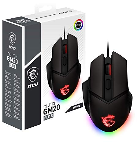 MSI Clutch GM20 Elite - Mouse Gaming ergonomico USB, RGB Mystic Light, Sensore Ottico PAW 3309 (6400 DPI), Switch fino a 20 mln di click, sistema di pesi modificabili