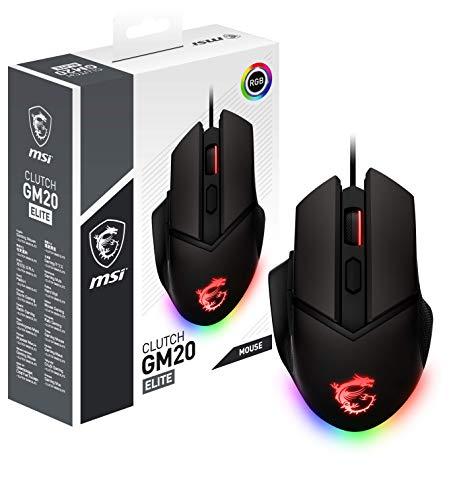MSI Clutch GM20 Elite - Ratón Gaming (RGB, Pesos Ajustables, 6400 dpi, Diestro, Sensor óptico Pixart PAW-3309), Negro