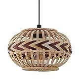 EGLO Dondarrion - Lámpara colgante de 1 foco, estilo vintage, bohemio, de acero y madera, para mesa de comedor, para salón, colgante en negro, natural, rojo vino, casquillo E27, 26 cm