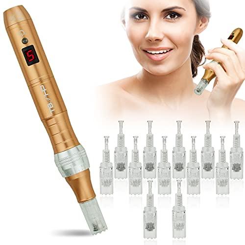 TBPHP P10 Derma pen Microagujas 0mm-2.0mm ajustable .Incluir 12pcs agujascon Pantalla LCD de...