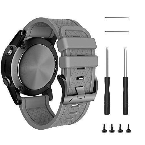 ANBEST Pulsera compatible con Fenix 2 de silicona, 26 mm, suave, correa de repuesto de silicona para reloj inteligente Fenix 2 (gris)