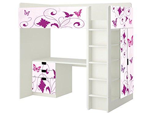 Butterfly Aufkleber - SH06 - passend für die Kinderzimmer Hochbett-Kombination STUVA von IKEA - Bestehend aus Hochbett, Kommode (3 Fächer), Kleiderschrank und Schreibtisch - Möbel Nicht Inklusive | STIKKIPIX