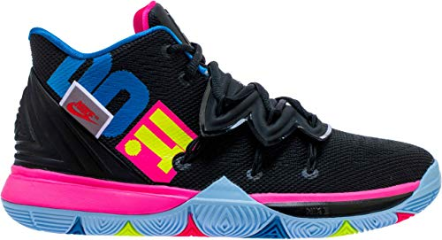 Nike Kids Kyrie 5 'Just Do It' Basketball Shoe (GS) (Black/Hyper Pink/Volt, 7 Big Kid)