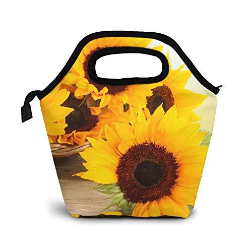 Bolsas de almuerzo pequeñas de girasol para mujeres, niños, impermeable, aisladas para el trabajo y la escuela