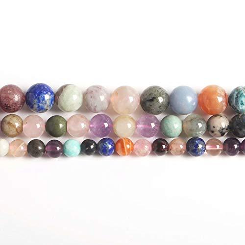 SKYBEADS natuurlijke halfedelstenen kralen om op te rijgen 38 cm streng rond 4 6 8 10 12 mm 10mm Gemixt steen