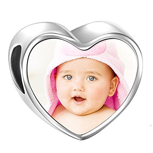 Soufeel Personnalisé Photo Charm Cœur Gravé Bébé Empreinte en Argent 925 Perle Beads pour Femme Homme Cadeau Fête des Mères Anniversaire Maman Marriage
