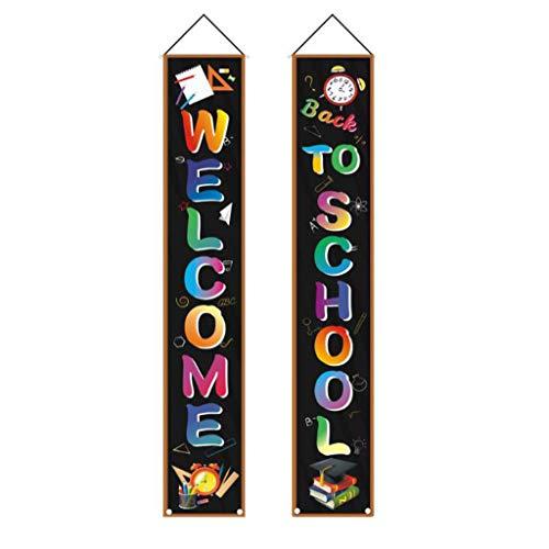 Pulison Back to School Season Door Curtain Couplets, Welcome Banner Wall Decals Set for Kids Boys Girls Kindergarten Pre-School Primary High School Classroom Decorations (A)
