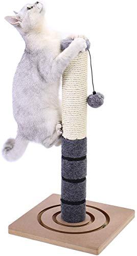 PAWZ Road Kratzbaum für Katzen Sisal mit Katzenspielzeug Kratzen Katzenkratzbaum Kratzsäule Kratzpsäulen Kätzchen Kleine Scratcher Plüschstange mit extra Pfosten baumelnder Kugel Höhe 54cm Grau
