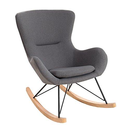 Invicta Interior Design Schaukelstuhl Scandinavia Swing Stoff dunkelgrau Schaukelsessel Sessel Stuhl Wohnzimmersessel