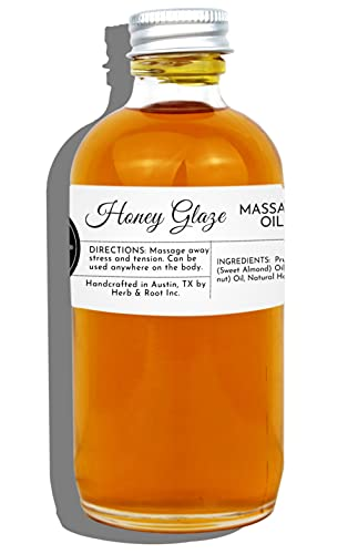 Honey Flavored Massage Therapy Oil, Herb & Root, 4 oz | Best Non-greasy Blend of Edible Sweet Almond, Fractionated Coconut oils for Sensual Couples Aromatherapy