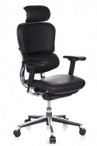 hjh OFFICE 652200 Luxus Chefsessel ERGOHUMAN Echtes Leder Schwarz hochwertiger Bürodrehstuhl mit Vollausstattung