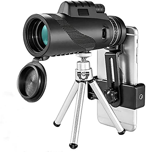 Qianglin Telescopio monocular con trípode 40x60 Hig - Monocular con alimentación para teléfono Inteligente, Visor Impermeable con Soporte para trípode y Abrazadera de Resorte para Senderismo Camping