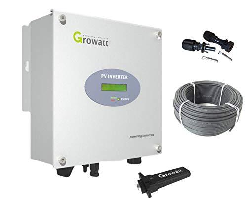 1.6 kW Solar Wechselrichter Growatt 1500S +WiFi Stick +20m KBE Solarkabel +Stecker