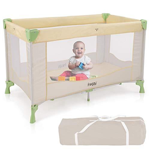 Froggy® Reisebett Kinderreisebett Kombi-Reisebett Laufstall inkl. faltbare Unterlage Transporttasche zusammenklappbar Safari