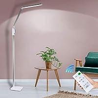 LED読書フロアランプ、調光可能、5レベルの明るさと5種類の光源リビングルームの寝室のオフィスタスク用の調整可能なグースネック付きLEDスタンディングライト、シルバー