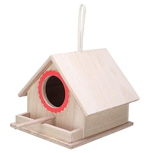 Comfortable Swallow Bird House, Hanging Paintable Wooden Birds Box, Decoration Box Attracts Bird for Sparrow All Ages