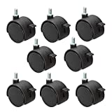8 Pack Plastic Castor Replacement Wheel for Furniture, 1.5 Inch Diameter Black Small Threaded Caster Cabinet Wheel Office Furniture Desk Floor Swivel Plate Screw in Caster, 5/16' Threaded with Brake
