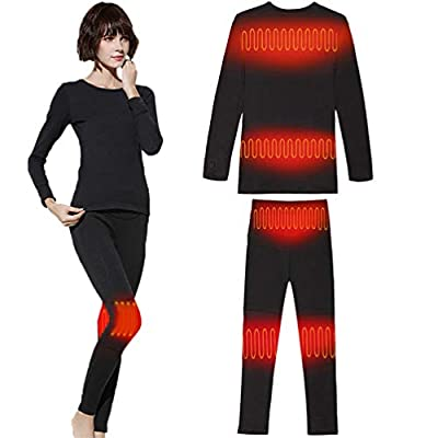 sunwill Winter Electric Thermal Underwear Set Knee Pads Waist for Women Outdoor Sports Black, Women X-Large