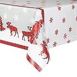 Rustic Plaid Christmas Plastic Tablecloth, 84' x 54'