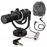AIRMIC VMR10 PRO Camera Microphone - External Shotgun Mic with Shock Mount & Deadcat Windscreen - Directional Video Recroding Microphone for iPhone,Phone,Android Smartphones,Canon,Nikon,Sony,DSLR