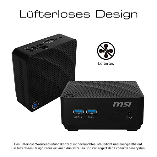 MSI Cubi N 8GL-079DE Mini-PC (Intel Pentium Silver N5000, 4GB DDR4, 64GB SSD,Windows 10 Pro) schwarz