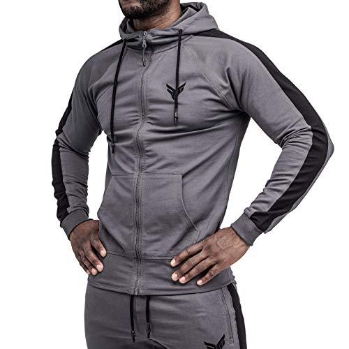 Fitness Method® Kapuzenpullover für Herren | Extra Flexibler Zip Hoodie für Sport Fitness Gym Training & Freizeit | Trainingsjacke - Sweatjacke (Anthrazit - Schwarz, M)