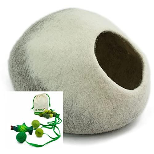 8-Natur® - Cuccia per gatti in feltro 100% lana equa, ecologica e testata contro le sostanze nocive, con cuscino interno isolante, lavabile, cuccia per gatti o cani di piccola taglia