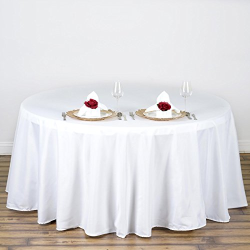 BalsaCircle 10 pcs 108 inch White Round Polyester Tablecloths Fabric Table Cover Linens for Wedding Party Banquet Reception Events Kitchen Dining