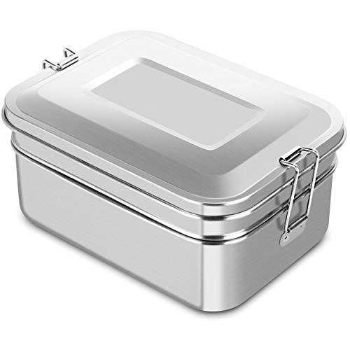 Adkwse Brotdose Edelstahl 2000ML Brotzeitdose groß mit 2 Fächern Lunch Box auslaufsicher Brotzeitbox geeignet für Erwachsene, Kinder, Büro und Ausflug