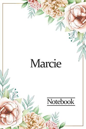 Marcie Notebook: watercolor floral design, Personalized name journal « Marcie » | Birthday Gift For Women & Girl, Mom, Sister ..| Lined Journal, 120 Pages, size 6 x 9