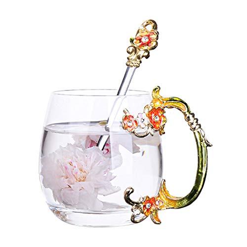 LRW korte creatieve emaille pruim bloem glas Cup Europese paar theekopje bloem cup sap Cup