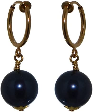 LINDSEY CERCEAU 12mm Gold plated Night Blue Clip On Earrings